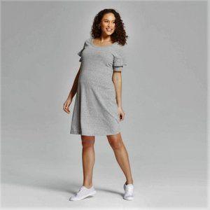 Isabel Maternity Ruffle Sleeve Casual Shirt Dress